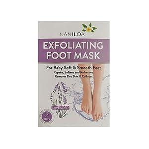 Naniloa Exfoliating Foot Mask | Repairs Rough, Dry & Callused Feet | Exfoliating Lavender Foot Peel | 2 Pack