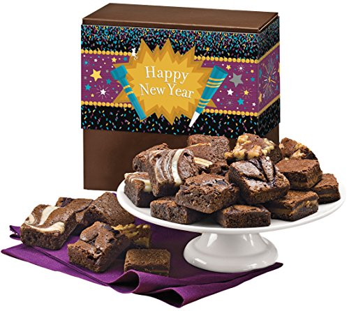 Fairytale Brownies New Year Magic Morsel 24 Gourmet Food Gift Basket Chocolate Box - 1.5 Inch x 1.5 Inch Bite-Size Brownies - 24 Pieces