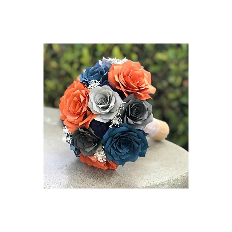 silk flower arrangements wedding bouquet in burnt orange, navy blue and shades of gray paper roses