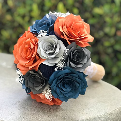Wedding Bouquet in Burnt Orange, Navy blue and Shades of Gray Paper Roses -