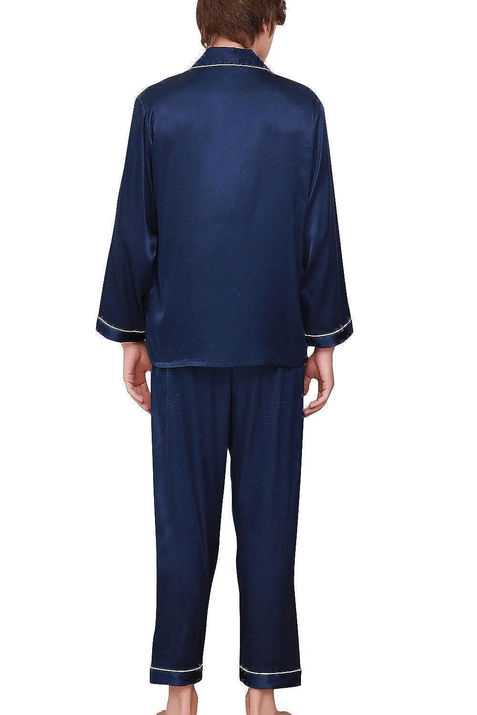 HX fashion Los Hombres Pijamas Pares De Raso Largo De Tamaños Cómodos Dos Piezas Pijamas Hombres del Verano con El Cuello De La Camisa con El Bolsillo Ropa: ...