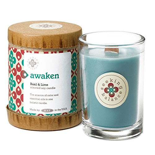 Root Candles Seeking Balance Small Spa Candle, 6.5-Ounce, Awaken: Basil & Lime