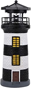 Delaman Solar Lighthouse, LED Solar Power Lighthouse Statue Rotating Outdoor Light Garden Yard Lawn Craft Ornament Garden Accessories(Black and White)