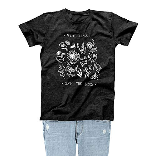Rocksir Plant These Save The Bees Theme Women Lovely Summer T-Shirt Girl TOP TEES(L bees3 - Top Bee
