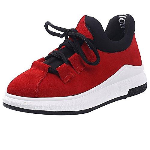 Shenn En Mode Femmes Lacet Daim Ont Rouge Baskets Wedges Confortables De Sport Occasionnels Chaussures wUwHnr7qz
