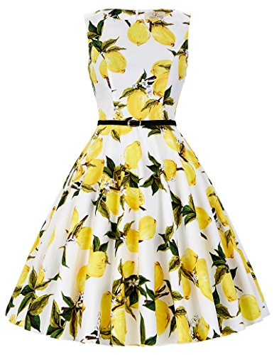 Floral 1960 Vintage Swing Dresses for Women A-Line Size S F-31]()