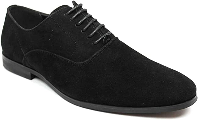 Men's Round Toe Black Suede Dress Shoes