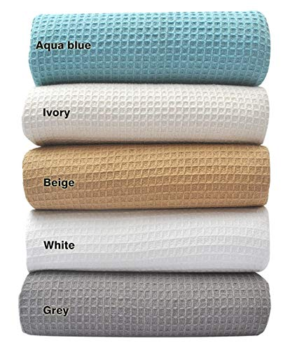 Tex Trend 100% Cotton Blankets Queen Size, White Color - Soft Premium Right Weight Breathable Cotton Thermal Blankets Waffle Weave Design - Provides Comfort and Warmth for Years