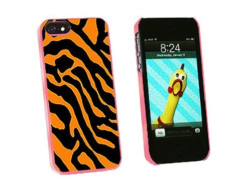 Graphics and More Zebra Print Orange Snap-On Hard Protective Case for iPhone 5/5s - Non-Retail Packaging - Pink