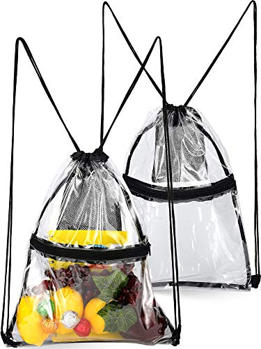 2 Pieces Clear Drawstring Bag Transparent Drawstring Backpack with Zipper Mesh Pocket (Color 2) ()