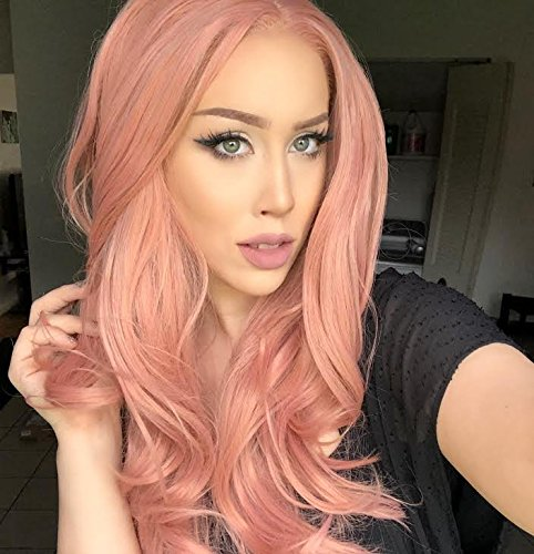 Peach Pink Lace - Lucyhairwig Lace Front Wigs Rose Gold Synthetic Lace Front Wig Long Wavy Natural Hairline Heat Resistant Fiber Hair Natural Looking Peach Pink Glueless Lace Wigs For Women