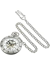 Men's AS8017SS Mechanical Skeleton Movement Silver Pocket Watch with Link Chain