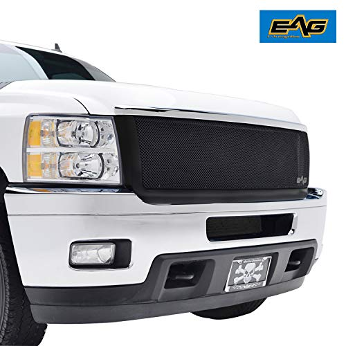 EAG Replacement Grille Black Stainless Steel Wire Mesh with ABS Shell Fit for 11-14 Chevy Silverado 2500/3500