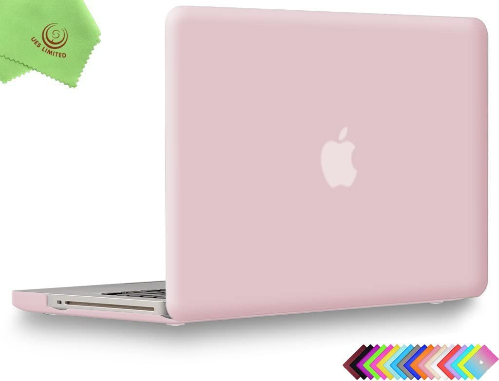 UESWILL Smooth Soft-Touch Matte Hard Shell Case Cover for MacBook Pro 13 inch with CD-ROM (Non-Retina) (Model A1278) + Microfibre Cleaning Cloth, Rose Quartz