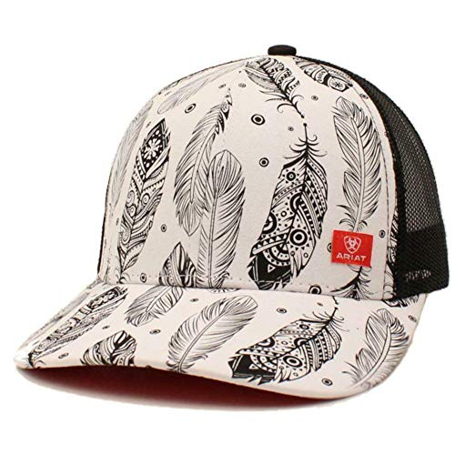 ARIAT Ladies White W/Black Feathers Adjustable Mesh Snapback