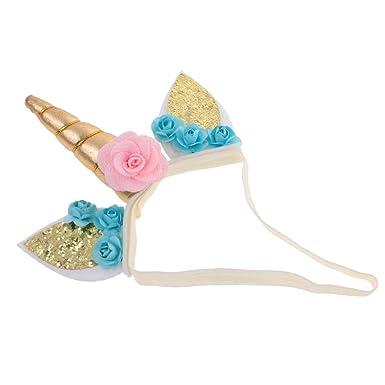 Dovewill Unicorn Horn Ear Headband Floral Headwear Halloween Christmas Birthday Party Fancy Dress