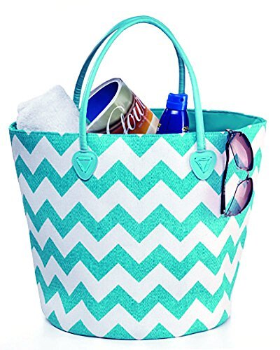 Beach Bag Large with Duffel Inner Drawstring Tote, Chevron Pattern (Light Blue White) by Exultimate