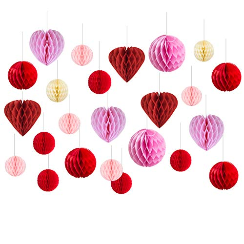 Valentine Decorations Heart Shape Paper Honeycomb Balls Wedding Bridal Shower Centerpiece Party Hanging Decoration, 24 pcs, SUNBEAUTY -
