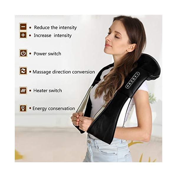 UKEER Massaggiatore Cervicale e da Collo, 3D Shiatsu Massaggiatore per Collo e Spalle rullo massaggio muscolare Con… 5 spesavip