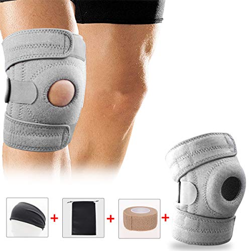 Knee Sleeve, Youtec Knee Brace, Knee Support Hinged Leg Pad Men & Women Large Small with Adjustable Velcro for Meniscus Tear, Arthritis, ACL, MCL, Sport, Running, Basketball, Wrestling, Calf, Grey