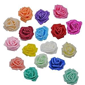 YONGSNOW 50Pcs/lot 8cm PE Foam Rose Head Artificial Flowers for DIY Bouquet Wearth Wedding Party Decoration 3