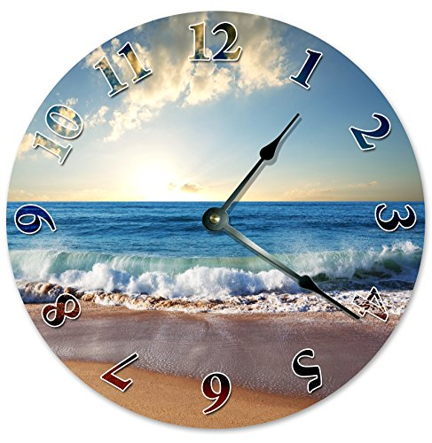 CRASHING-WAVE-ON-SHORE-Unique-Clock-Large-105-Wall-Clock-Decorative-Round-Wall-Clock-Home-Decor-OCEAN-SHORE