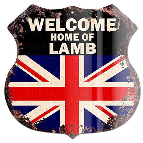 "Welcome Home of Lamb United Kindom Flag Custom Personalized Chic Tin Sign Vintage Retro 11.5""x 11.5"" Shield Metal Plate Store Home Man cave Decor Funny Gift ()"