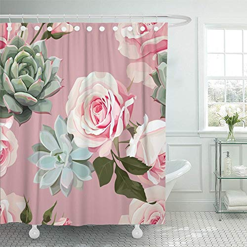 Abaysto Green Spring Succulents and Roses of Floral with Dusty Pink Flowered White Home Decor Shower Curtain Sets with Hooks Polyester Fabric Great Gift (Green Curtains Flowered)