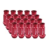 20PC Extended Racing Wheel Lug Nuts 12x1.5 50mm for Honda Civic Accord Acura Integra Toyota Chevy Ford Hyundai Alloy Aluminum (RED)