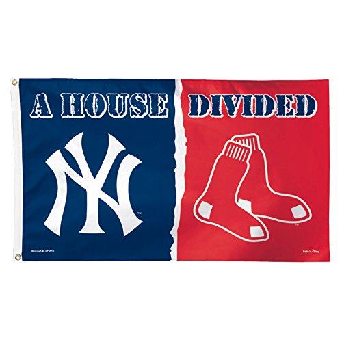 (MLB New York Yankees vs. Boston Red Sox House Divided Deluxe Flag, 3 x 5', Multicolor)