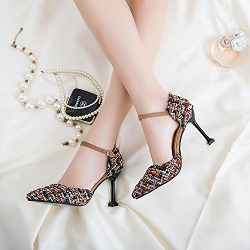 Del versátil 37 femeninos Zapatos Negro cm Punta elegante Zapatos compacto Heel High singles y 9 y Pfdpwq