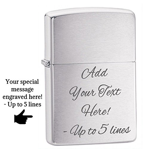 Personalized Chrome Zippo Windproof Lighter Custom Message Engrave (Brushed Chrome)