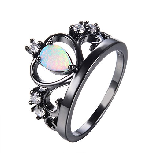 [PSRINGS Fashion Crown Design White Fire Opal Ring Vintage Black Gold Filled Jewelry Wedding Rings] (Ninja Turtle Nose Costume)