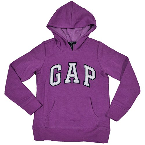 GAP Girls Fleece Arch Logo Pullover Hoodie (Purple, Small)