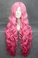Kalyss women's long pink curly cosplay wigs