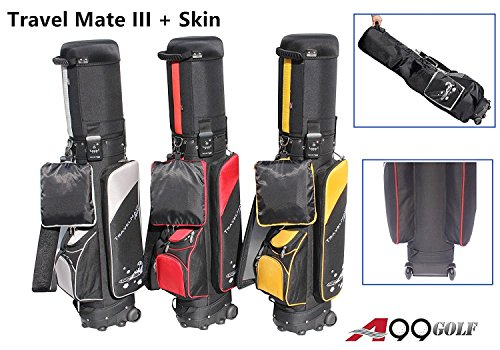 A99Golf Deluxe Golf Travel mate III CarryOn Rolling Travel Golf cart Bag case With TSA Lock and protection cover Wheel (Blk/Red)