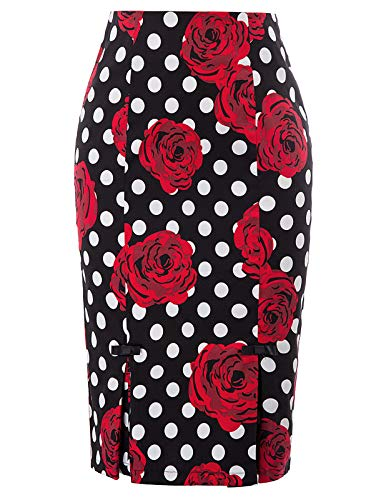 Plus Size Vintage Floral Bodycon Skirt Cocktail Party Skirts XL BP891-2