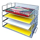 Coastal Colors Desk Organizers and Accessories Stackable Paper Tray - 4 Tier Stackable Letter Trays - Silver Metal Mesh File Holder Organizer