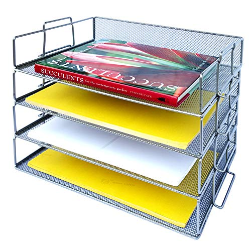 Coastal Colors Desk Organizers and Accessories Stackable Paper Tray - 4 Tier Stackable Letter Trays - Silver Metal Mesh File Holder ()