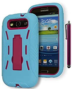 For Samsung Galaxy S3 - Bastex Heavy Duty Baby Blue Shock Absorbing TPU Bumper Style - Hybrid Pink Kickstand Case Cover for Samsung Galaxy S3 III i9300 i747 [[[INCLUDES PINK STYLUS]]]