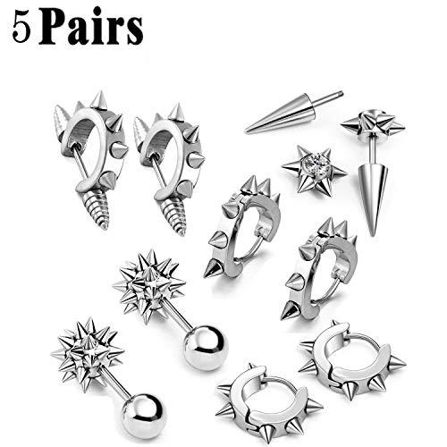 nless Steel Men Women Ear Stud Earring Huggies Piercing Spike Rivet Cone Taper Silver ()
