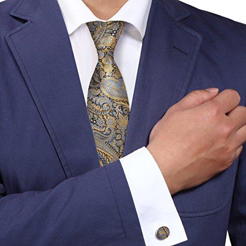 (Gold Florals Designer Mens Ties Bronze Pattern Holiday Gifts Fashion Silk Necktie Set A2079 One Size gold,bronze)