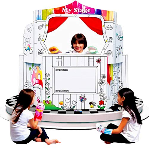 UC Global Trade Inc Stage Playhouse for Creative Coloring - Cardboard House for Kids and Additional Sticker Decorations Cardboard House For Kids