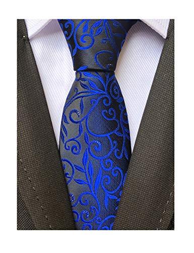 (Men's Royal Blue BLACK Jacquard Silk Narrow Ties Bridegroom Funny Neckties Gifts)