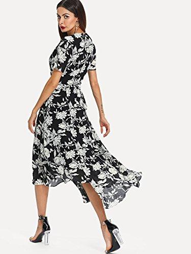 V Dress Wrap Deep Long Maxi Boho Black Neck Women's Split Floral White Milumia Chiffon and qPR0tztn