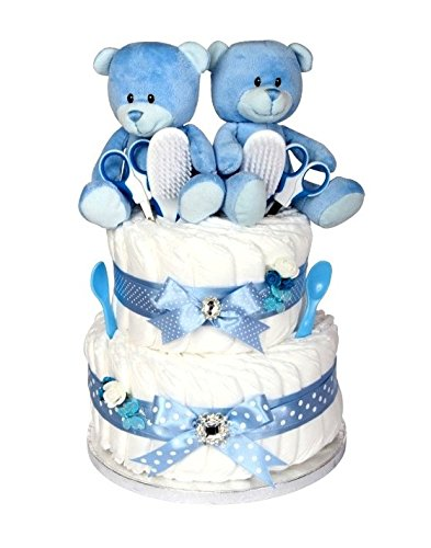 Signature Two Tier LUXURY Baby Boy Twin Nappy Cake / Twin Boy Baby Hamper / Twin Baby Shower Gift / New Arrival Gift / Newborn Twin Gift / FAST DISPATCH Pitter Patter Baby Gifts