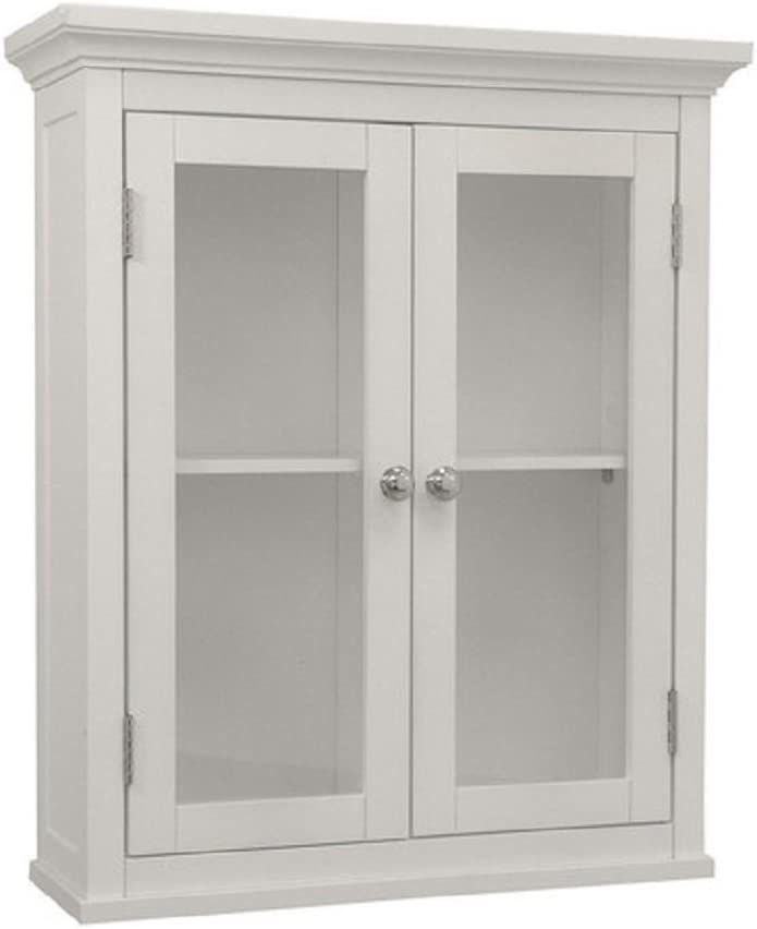 Beachcrest Home Elegant Style Sumter 20 X 24 Wall Mounted Wall Cabinet With Translucent Double Windows White Finish Home Kitchen