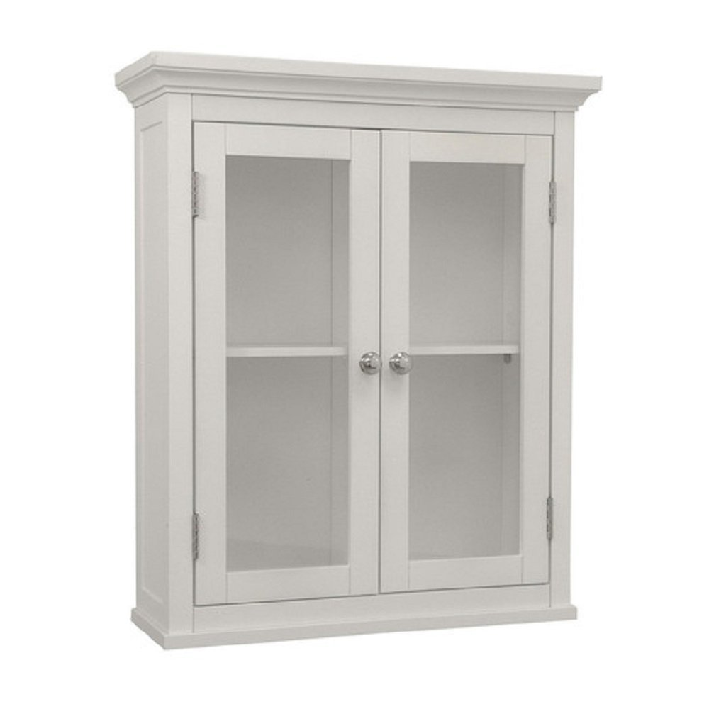 Elegant Style Sumter 20'' x 24'' Wall Mounted Wall Cabinet with Translucent Double Windows, White Finish