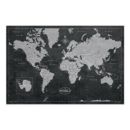 Modern Pin - Conquest Maps World Map Poster Modern World Map Style Decor to Track Your Travels & Pin Your Adventures! Matte Poster Paper Detailed Graphics -Cities States & Countries - 2015 Data (36 x 24 Inches)