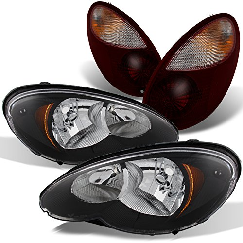 - For Chrysler PT Cruiser Black Headlights Head Lamps Replacement Pair + Dark Red Tail Lights Combo
